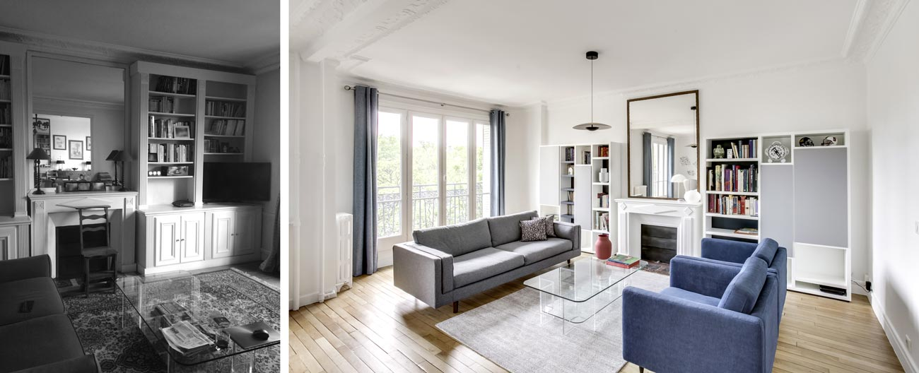 Photos avant - après de la rénovation d'un appartement haussmannien de 76m2