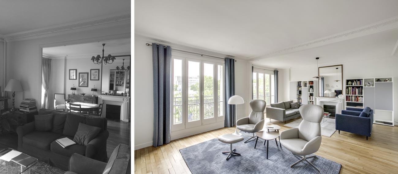 Aménagement d'un double salon par un architecte d'intérieur
