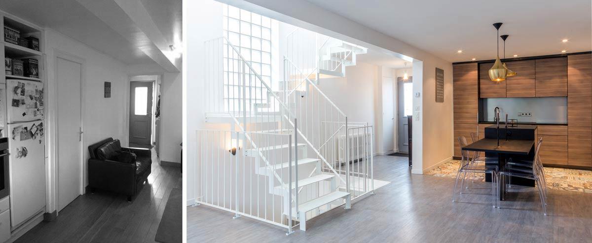 Avant apr s r novation d 39 une maison de ville avec un escalier ouvert paris - Photo maison renovee avant apres ...