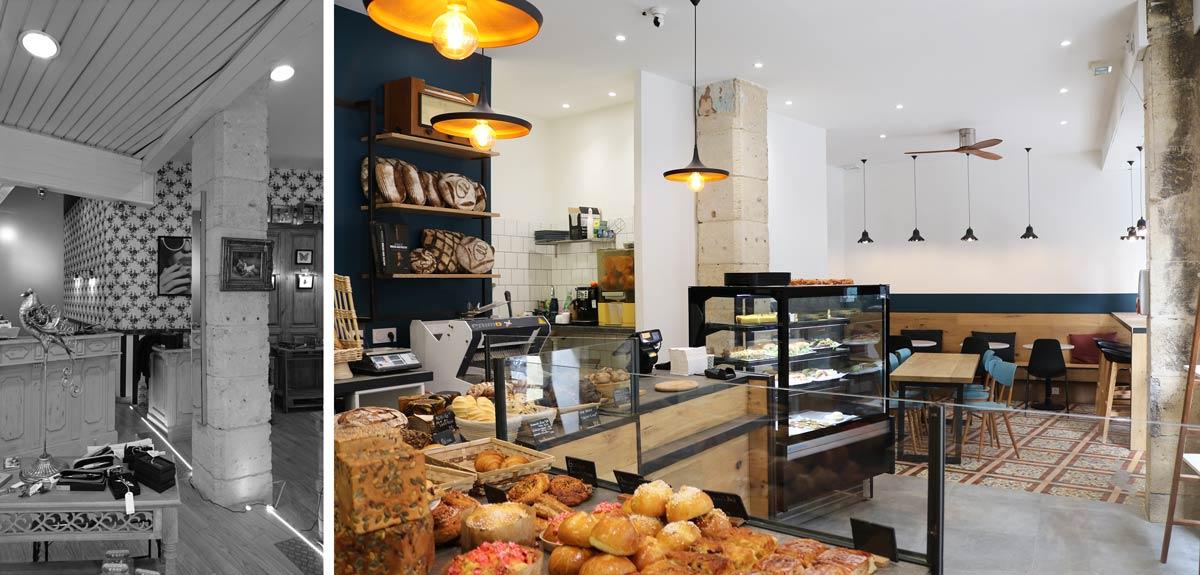 Photos avant - après de la rénovation d'une boulangerie artisanale