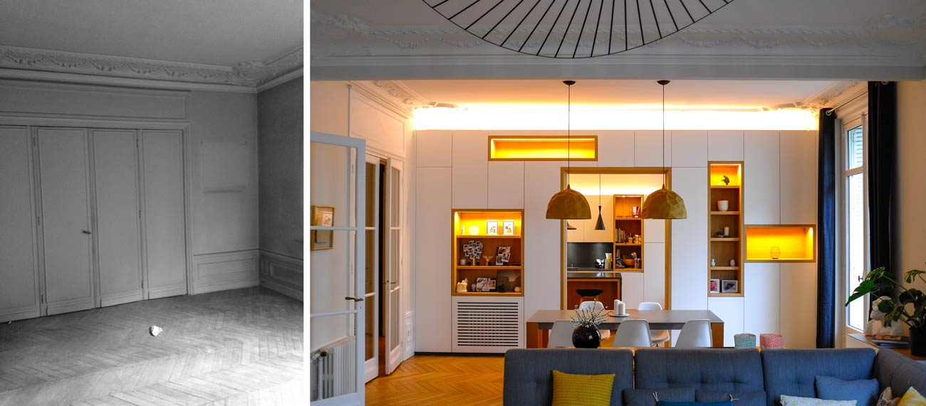 Salon d'un appartement haussmanniemn après les travaux de rénovation par un architecte d'intérieur