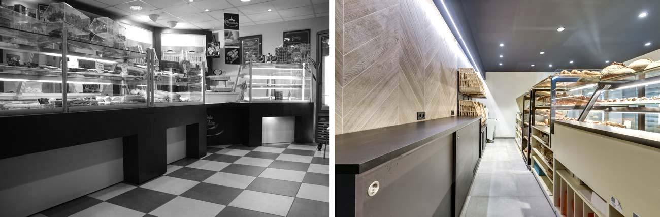 Aménagement d'une boulangerie par un architecte d'intérieur en photos avant - après