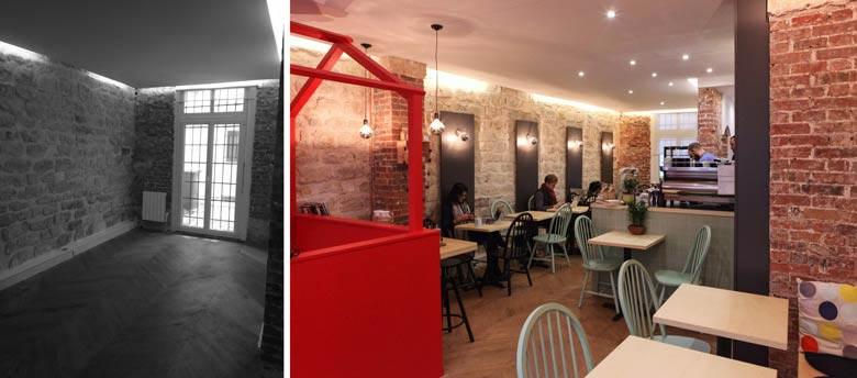 Aménagement intérieur d'un coffee shop par un architecte specialiste de l'architecture commerciale
