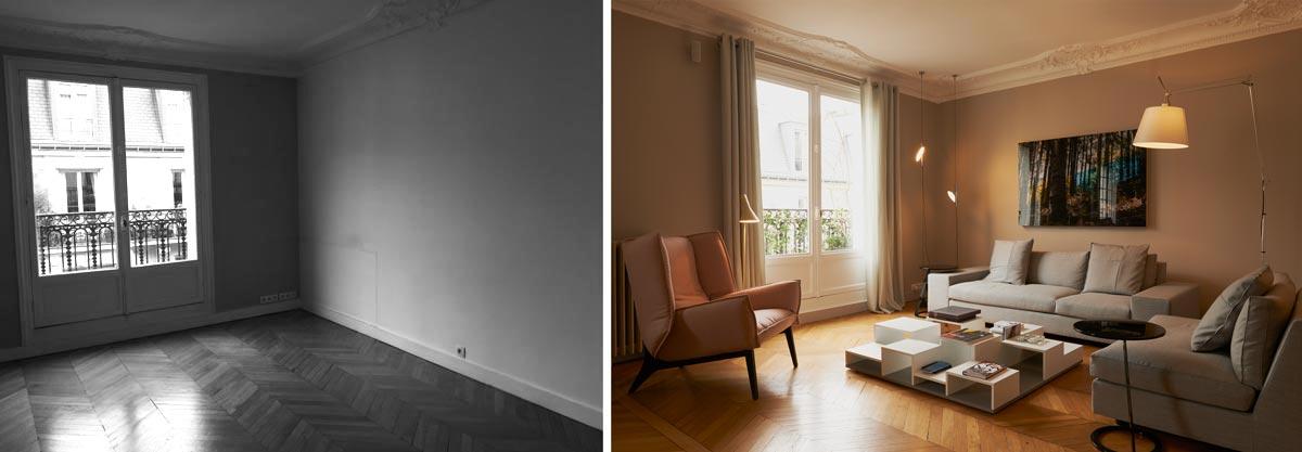 Aménagement du salon d'un appartement haussmanien