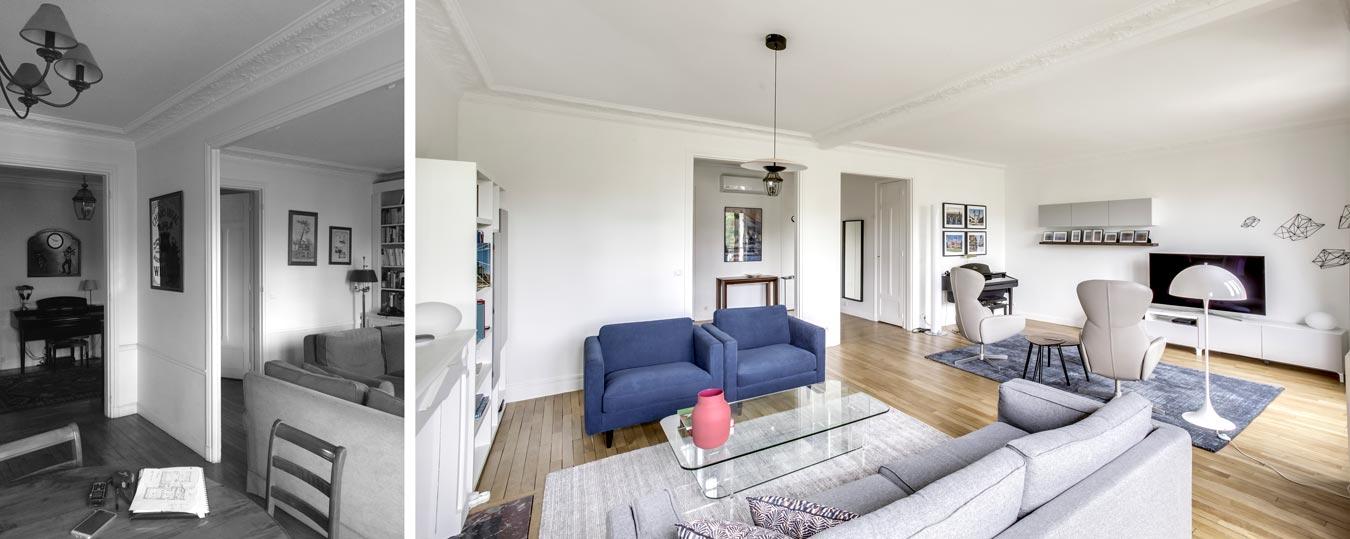 Grand salle de sejour d'un appartement haussmannien