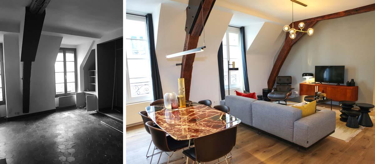 Photos avant - après : salon avec salle à manger après travaux d'architecture d'intérieur