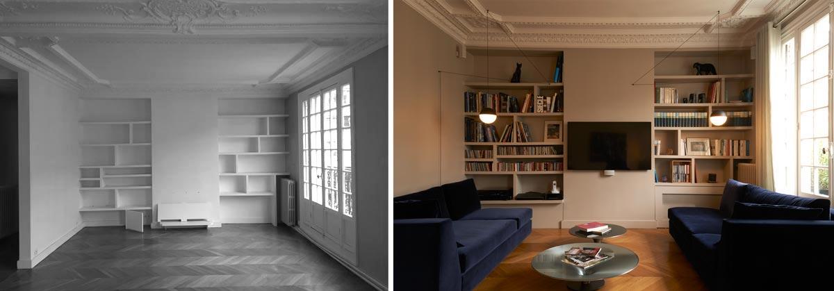 Architecture d'intérieur d'un salon - séjour avec une bibliothéque intégré et un coin TV