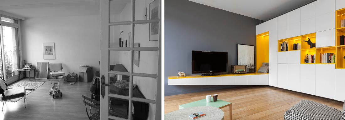 R novation d 39 une appartement 3 pi ces par un architecte d for Decoration d un sejour