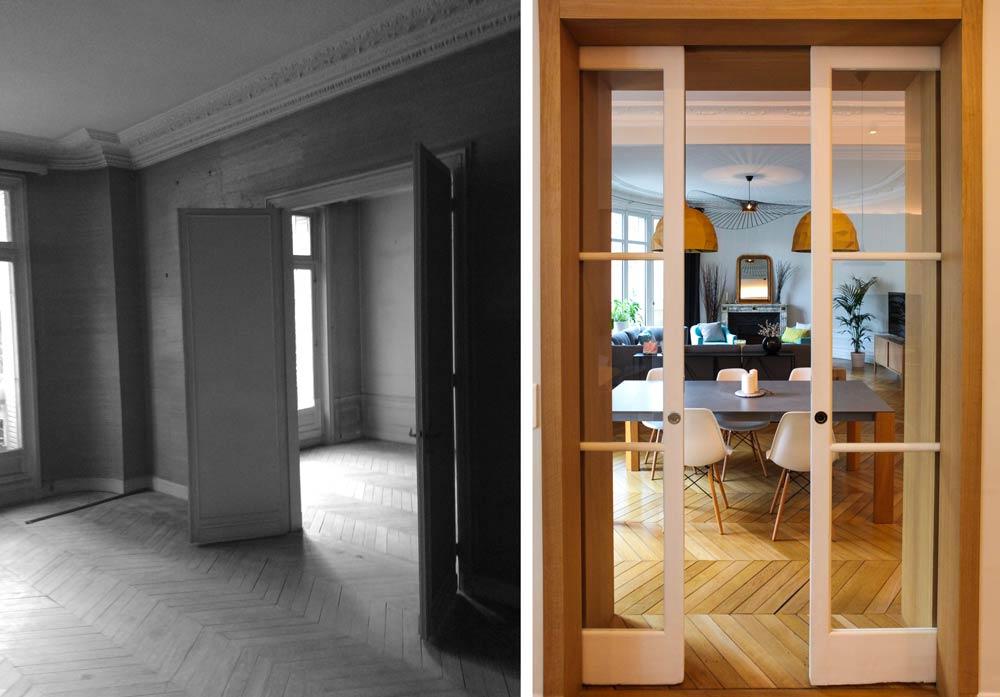 Salle à manger du salon en photo après les travaux et le chantier de rénovation avant après