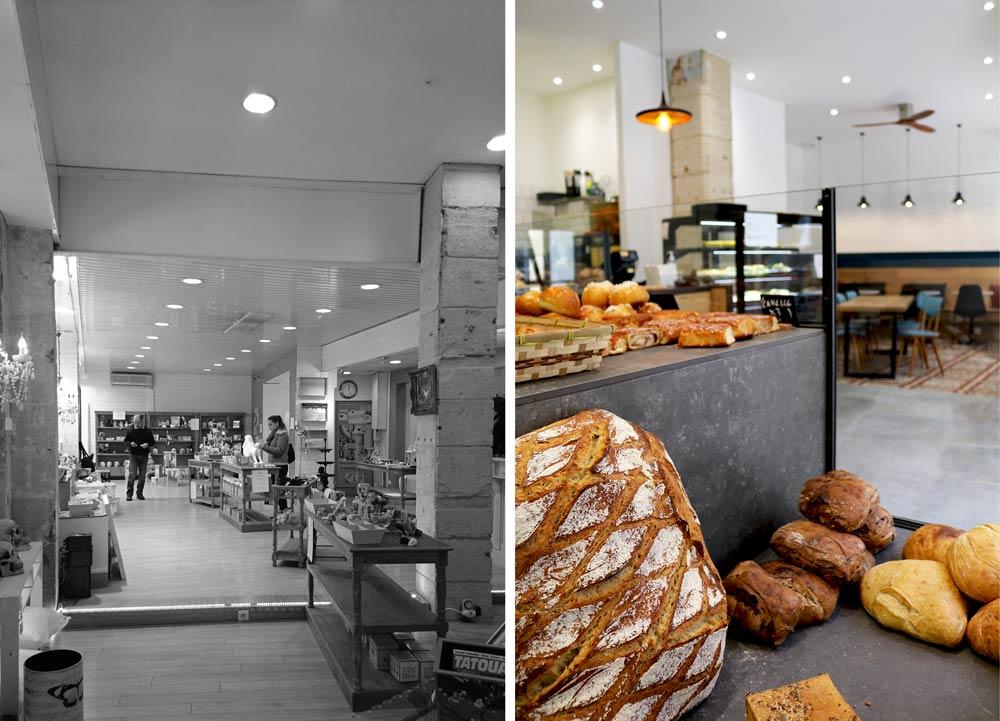 Aménagement de l'espace salon - café d'une boulangerie artisanale