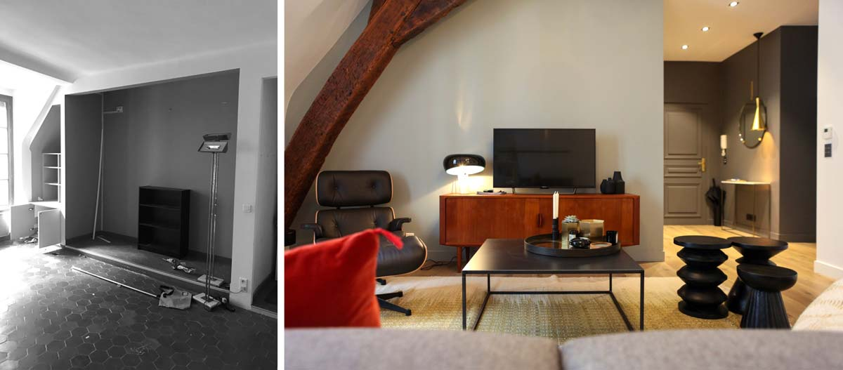 Photos avant - après de la rénovation d'une salle de séjour d'un appartement de 93m2