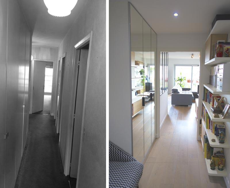 Avant - aprés : rénovation du séjour de l'appartement