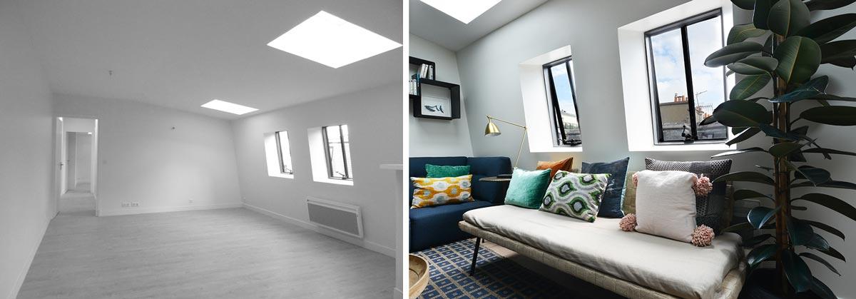avant apr s d coration d 39 un salon et s jour de 40m2. Black Bedroom Furniture Sets. Home Design Ideas