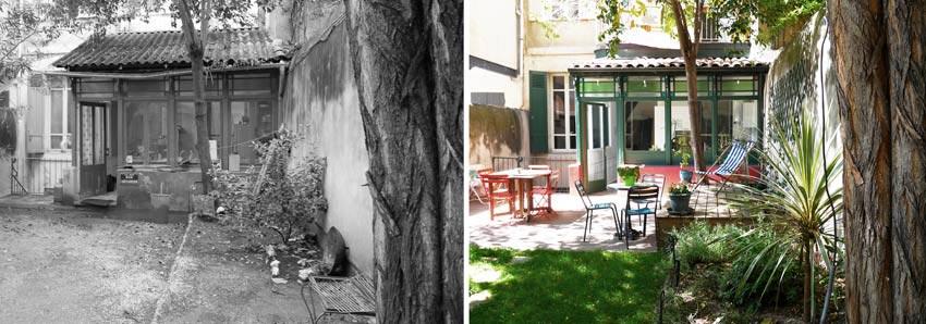 Un jardinier paysagiste aménage le jardin d'une maison de ville