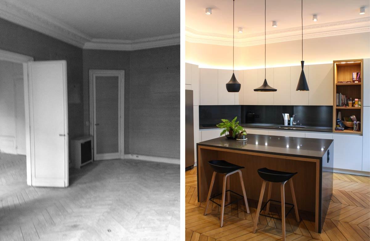 R novation d 39 un appartement haussmannien de 230m2 - Cuisine architecte d interieur ...