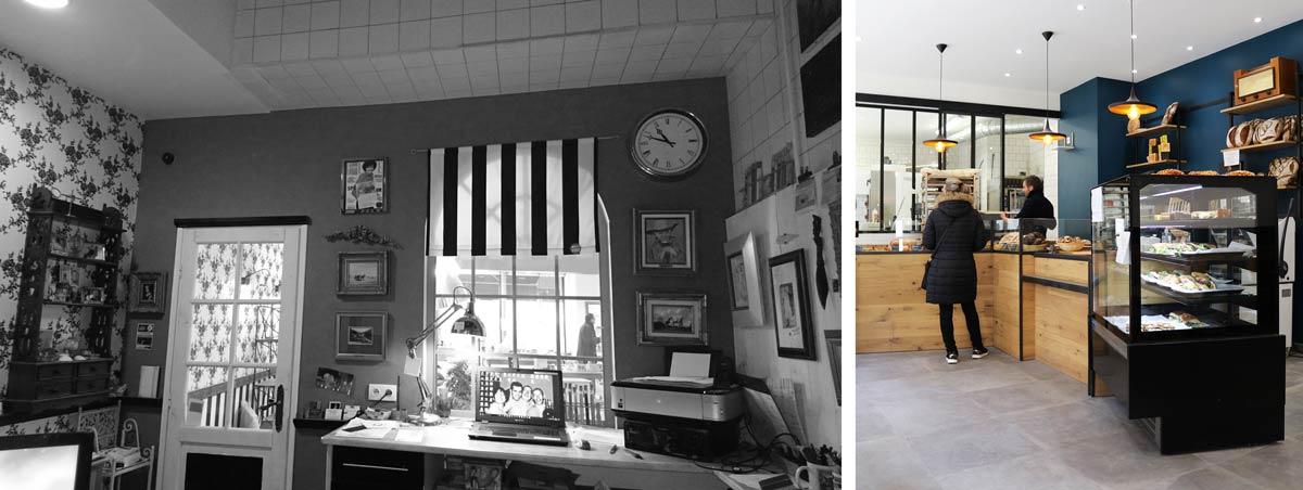 Décoration d'intérieur dans une boulangerie artisanale en photos avant - après