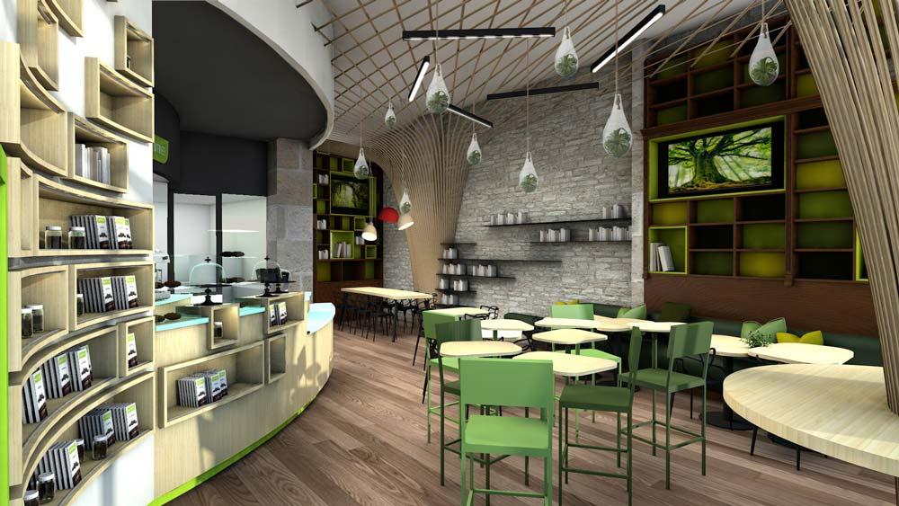 Vue 3D de la décoration d'intérieur d'un local commercial