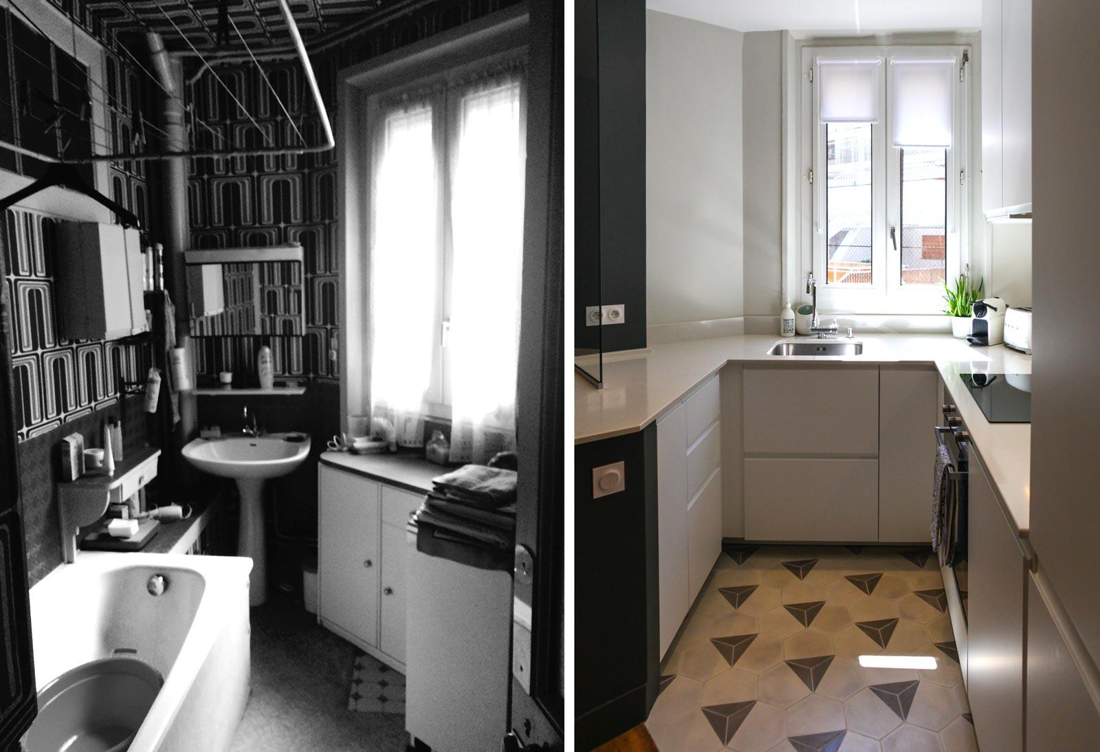 avant apr s r novation d 39 un appartement sombre en logement lumineux. Black Bedroom Furniture Sets. Home Design Ideas