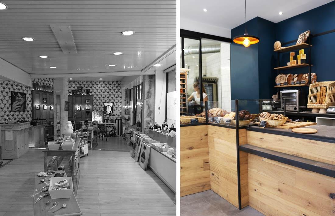 Aménagement du comptoir et des vitrines d'exposition de la boulangerie