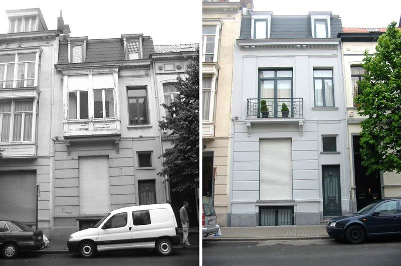 Avant aprés de la rénovation dune facade dune maison