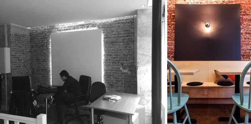 Photos avant - aprés de la décoration intérieur d'un coffee shop à Paris