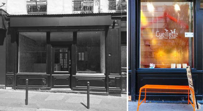 Photos avant - aprés de la rénovation de la facade d'un coffee shop