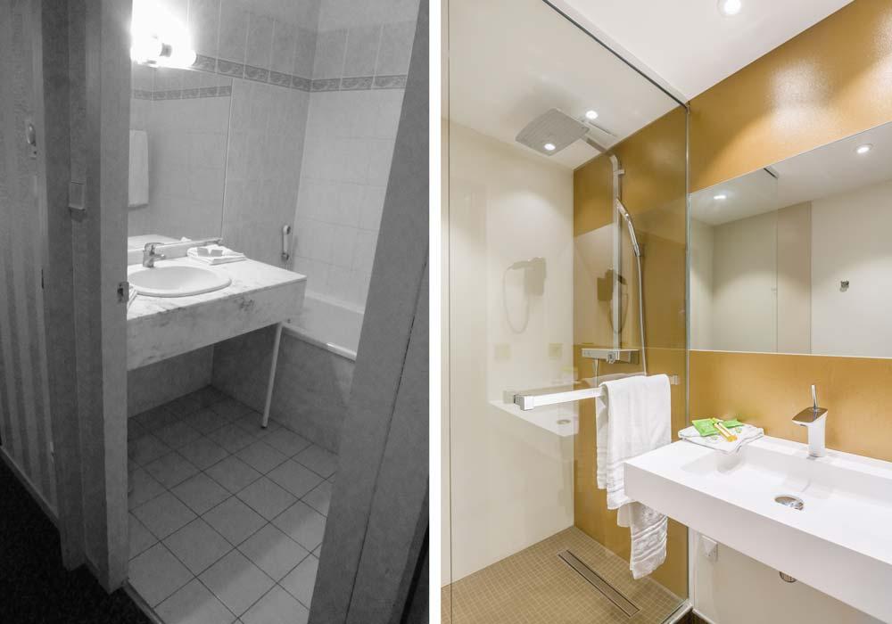 Avant - Après : rénovation de la salle de bain d'un hôtel 3 étoiles par un architecte d'intérieur