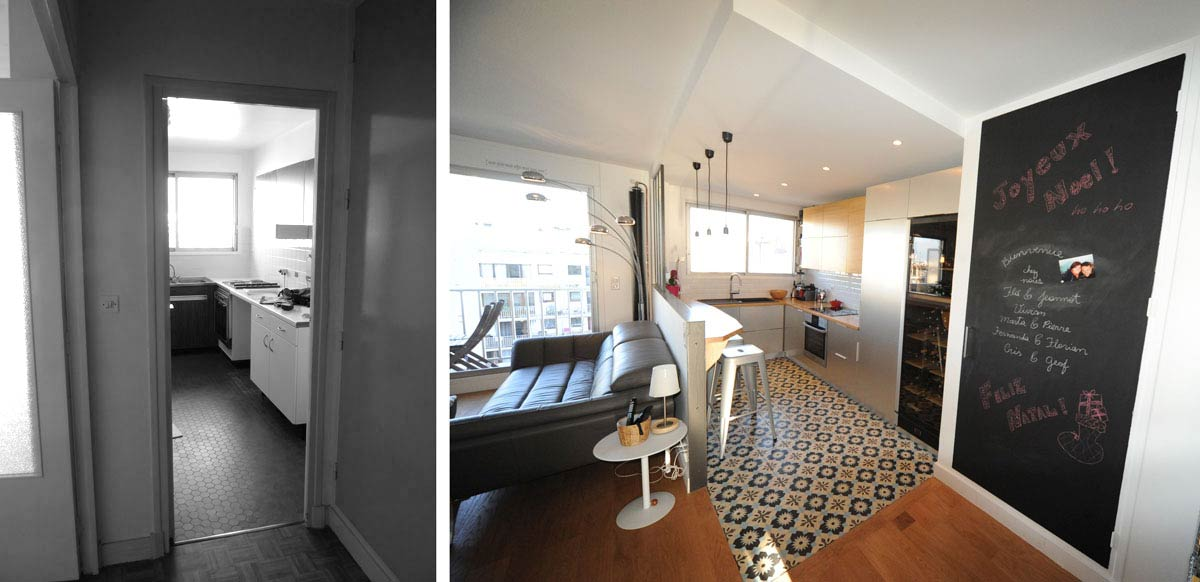Avant apr s am magement appartement 3 pi ces 62m2 for Appartement architecte