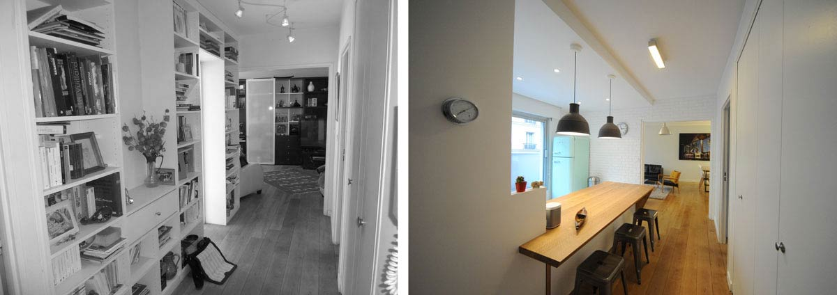 Avant apr s architecture int rieur appartement 3 for Idee amenagement cuisine couloir