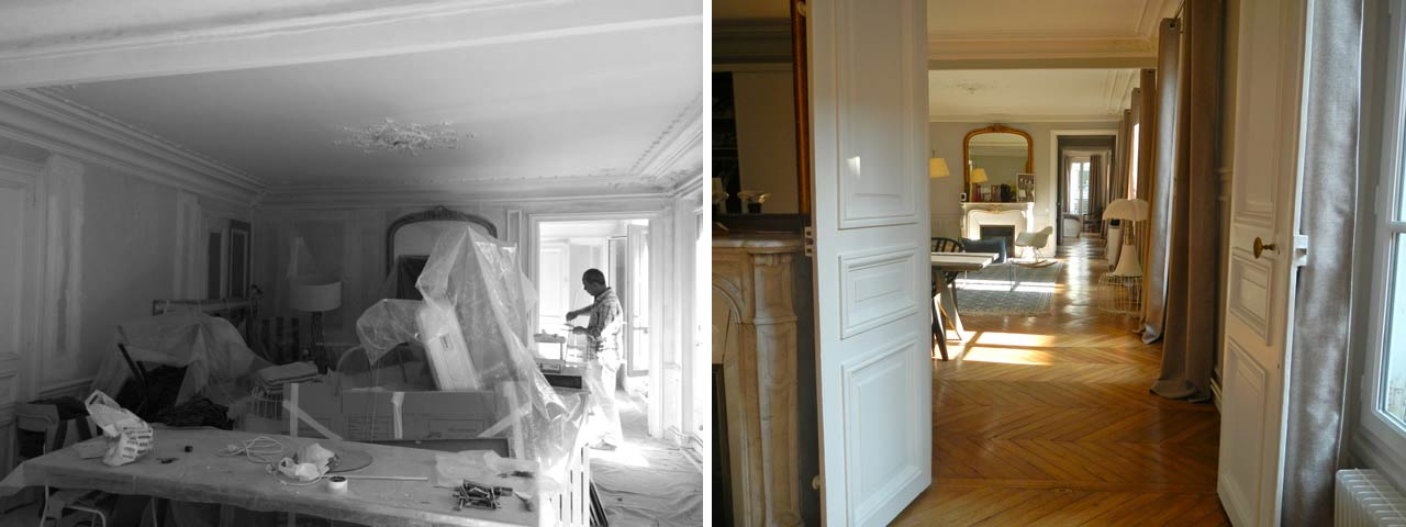 Rénovation du salon d'un appartement haussmannien