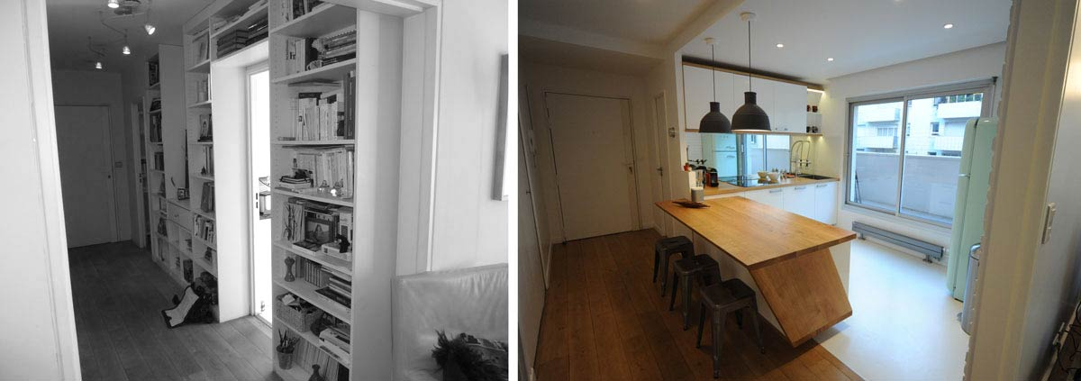Avant apr s architecture int rieur appartement 3 - Amenagement cuisine couloir ...