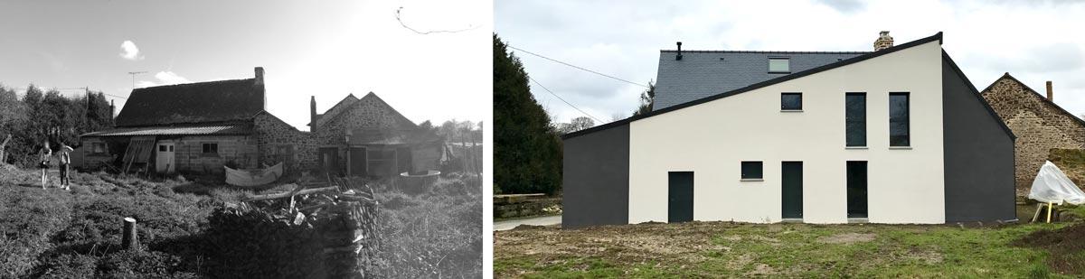 Ajout d'une extension à une maison en pierre (avant - après)