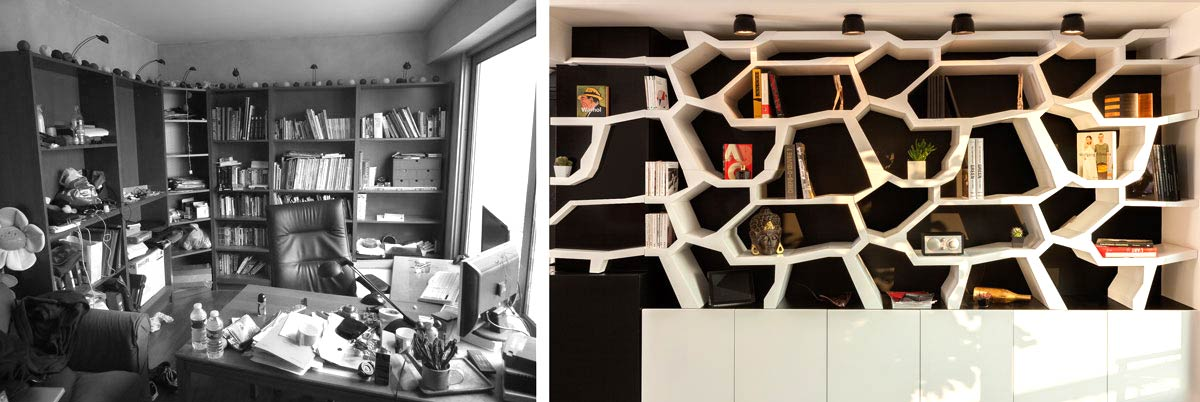 Réalisation d'une bibliothéque par un architecte d'intérieur