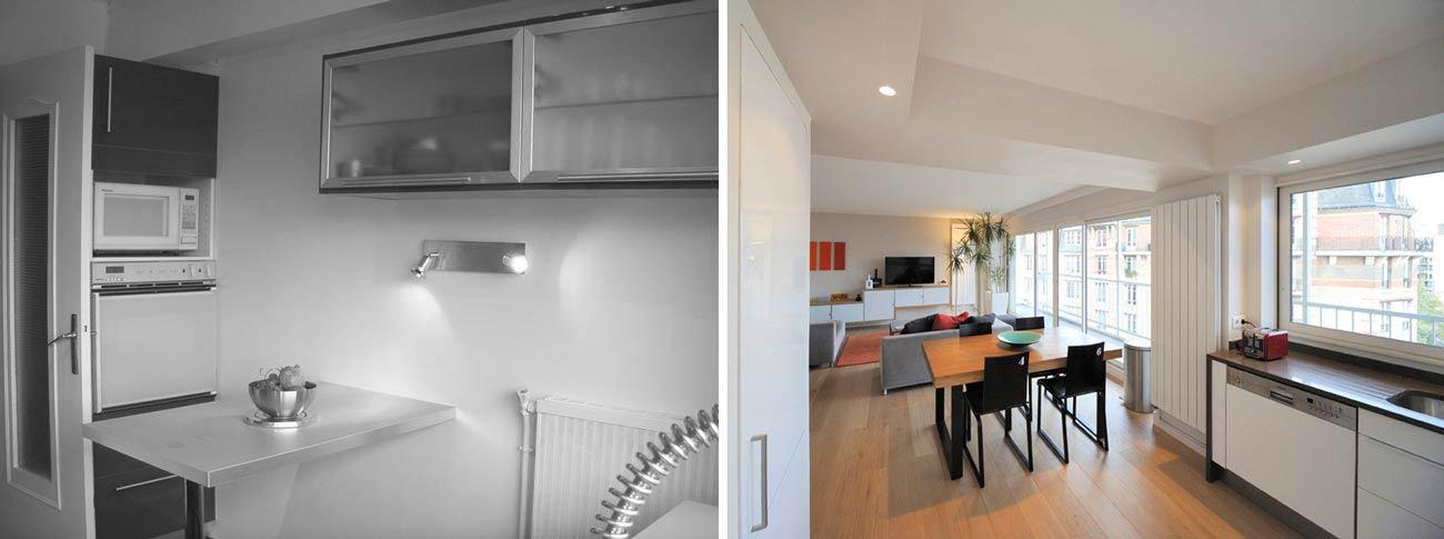 avant apr s r novation appartement dans une tour des. Black Bedroom Furniture Sets. Home Design Ideas