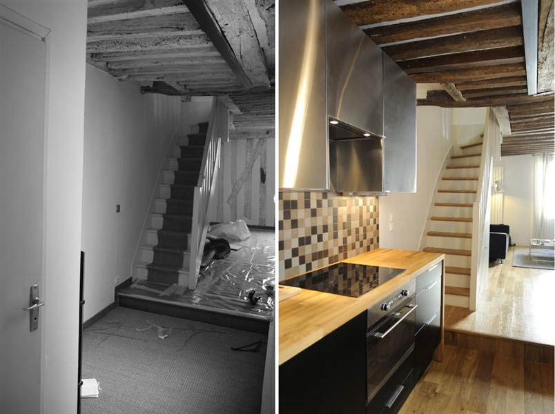 R novation d 39 un appartement 3 pi ces en duplex paris for Difference architecte d interieur et decorateur