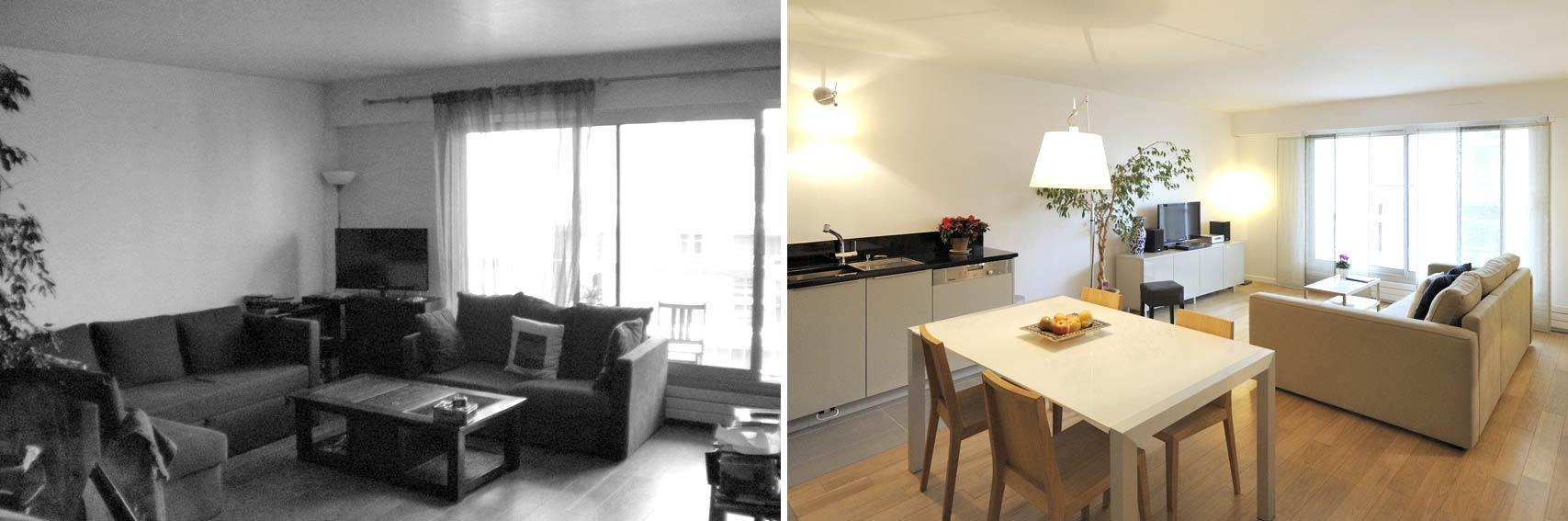 avant - après : aménagement appartement 4 pièces 90m2