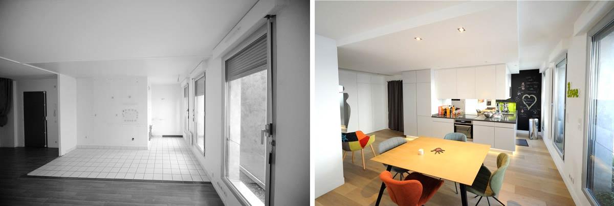 Am nagement d 39 un appartement contemporain 4 pi ces 85m2 for Architecte interieur tarif