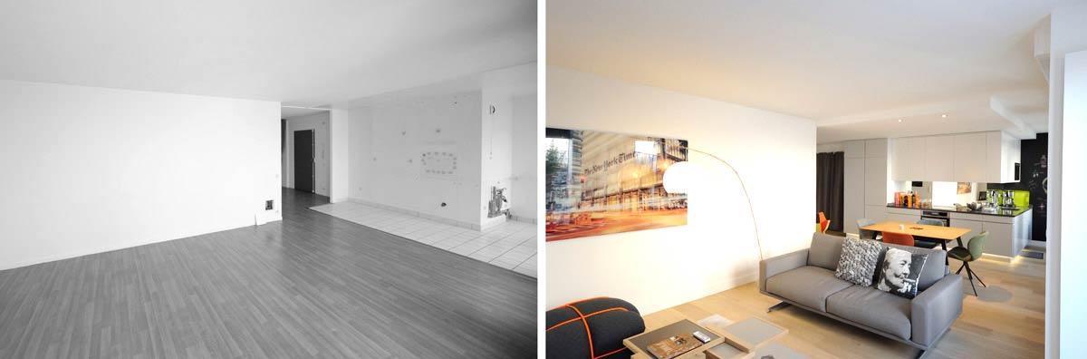 Rénovation d'un séjour par un architecte d'intérieur
