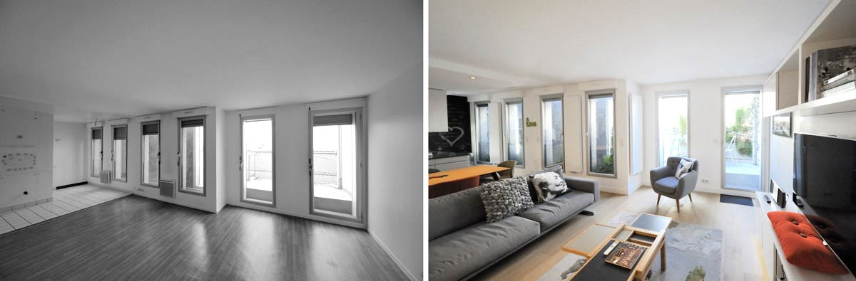 Am nagement d 39 un appartement contemporain 4 pi ces 85m2 for Salon sejour cuisine 35m2