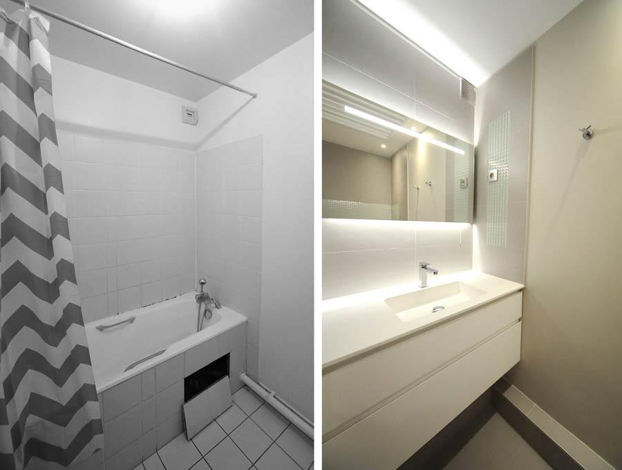 Avant aprés aménagement d'une salle de bain par un architecte d'intérieur