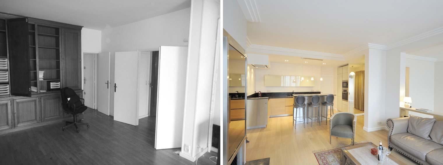 Utilisation d'ancien matériaux dans la rénovation d'un appartement par un architecte d'intérieur