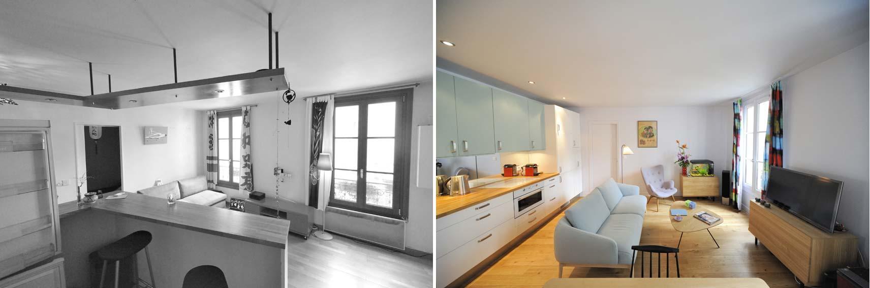 Avant apr s r organisation d 39 un appartement 2 pi ces for Decoration interieur appartement 2 pieces