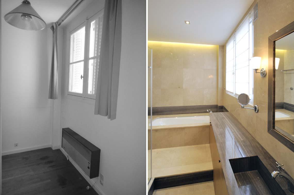 Photo Avant - Après d'architecture d'intérieur dans un appartement de trois pièces rville