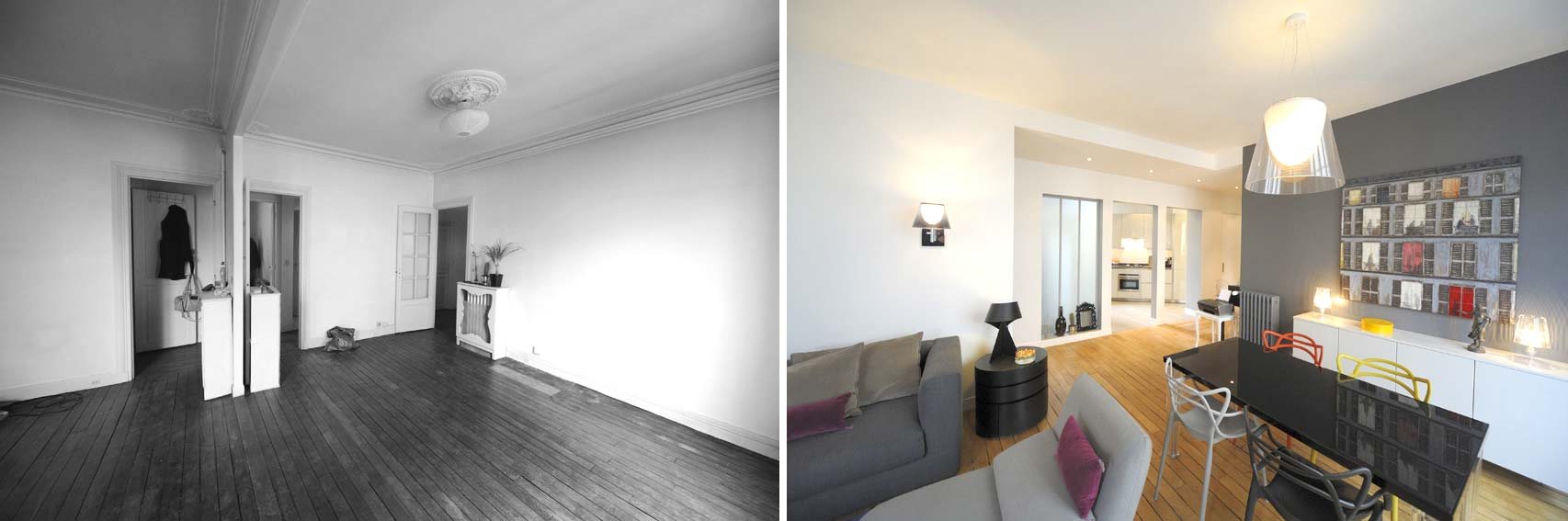Avant apr s transformation d 39 un appartement de 65m2 du for Site de decoration d interieur