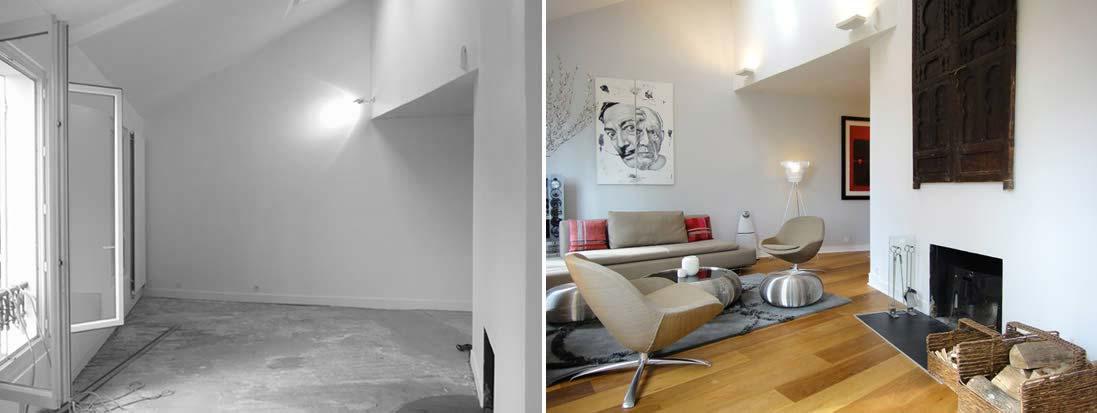 Rénovation du salon avec cheminé par un architecte d'intérieur