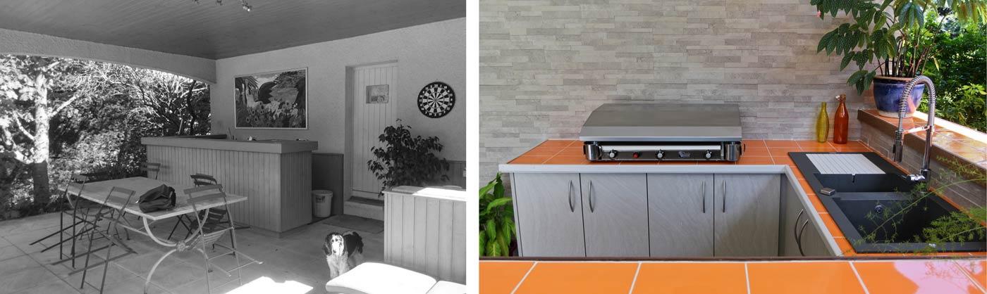 Avant - après : aménagement d'une cuisiné extérieur autour de la piscine