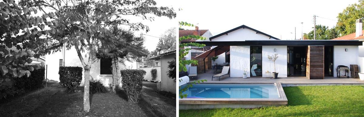 Avant - Aprés : Aménagement d'une piscine dans un jardin