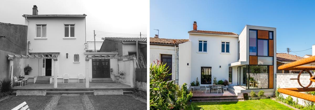 Avant - après : extension d'une maison à la place d'un ancien garage