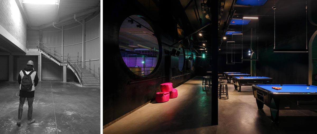 Réalisation d'une salle de billard par un architecte en photo avant - aprés