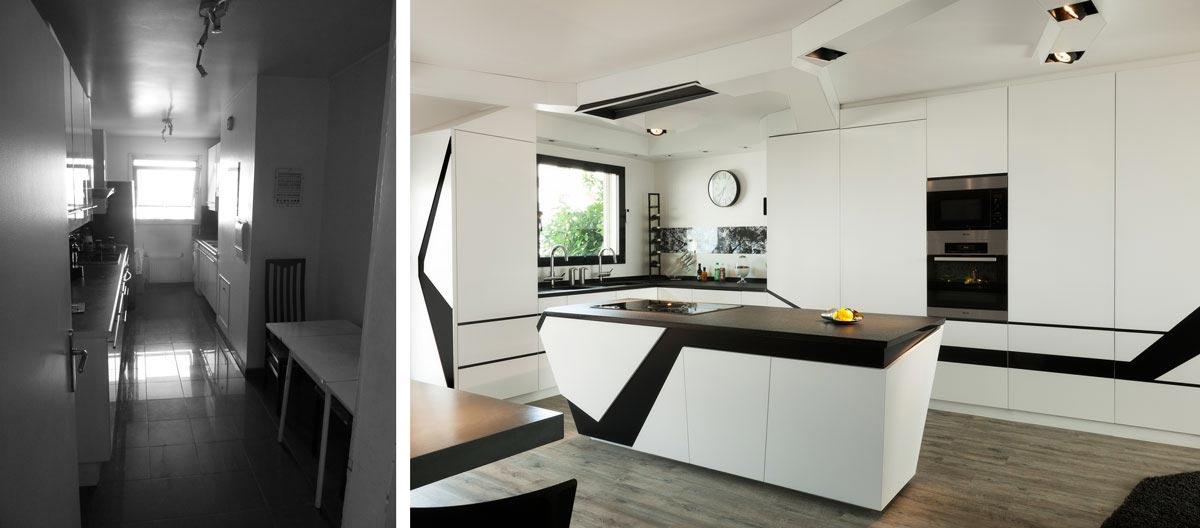 Avant apr s architecture d 39 int rieur d 39 un 4 pi ces de 100m2 - Cuisine architecte d interieur ...